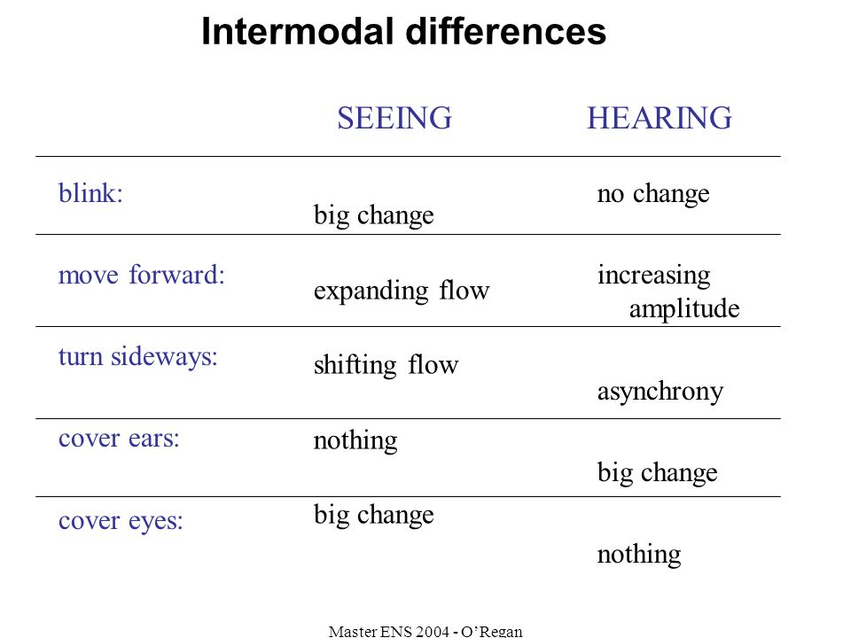Master ENS 2004 - ORegan big change expanding flow shifting flow nothing big change no change increasing amplitude asynchrony big change nothing blink: move forward: turn sideways: cover ears: cover eyes: SEEING HEARING Intermodal differences