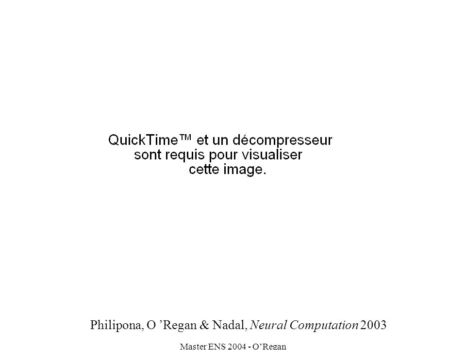 Master ENS 2004 - ORegan Philipona, O Regan & Nadal, Neural Computation 2003