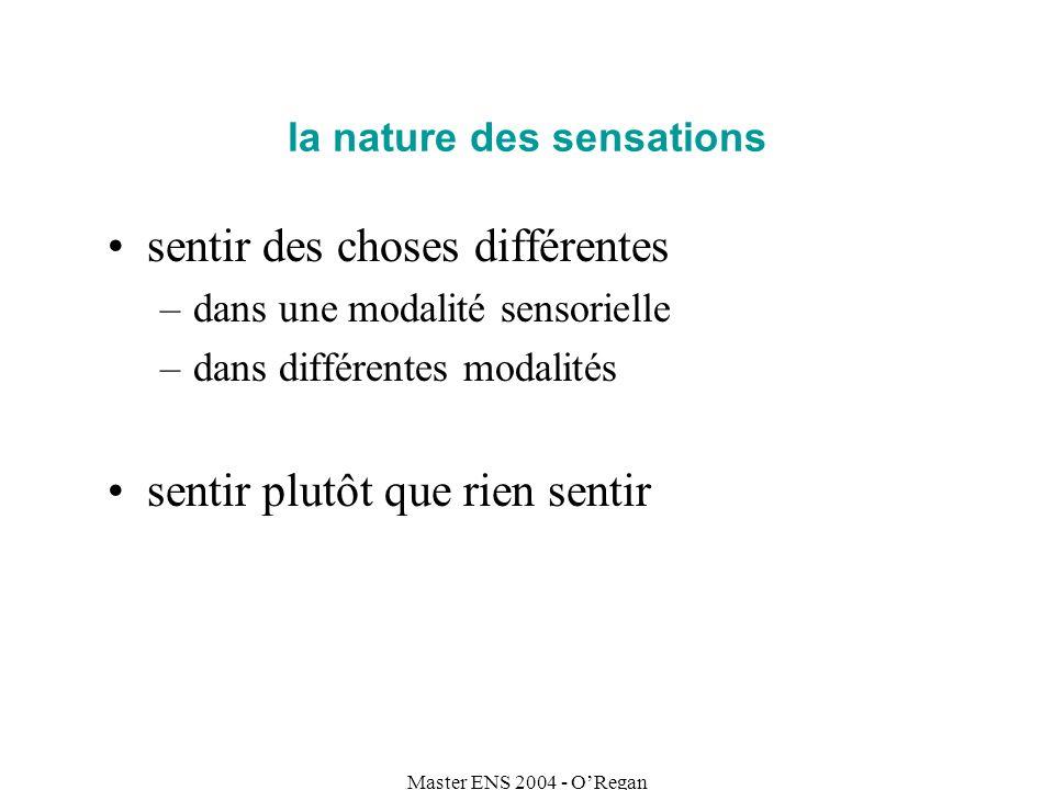 Master ENS 2004 - ORegan la nature des sensations sentir des choses différentes –dans une modalité sensorielle –dans différentes modalités sentir plut