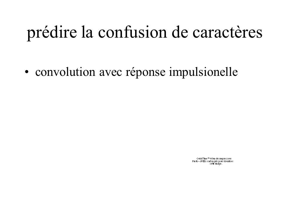 prédire la confusion de caractères convolution avec réponse impulsionelle