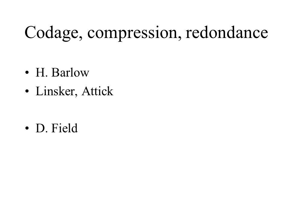 Codage, compression, redondance H. Barlow Linsker, Attick D. Field