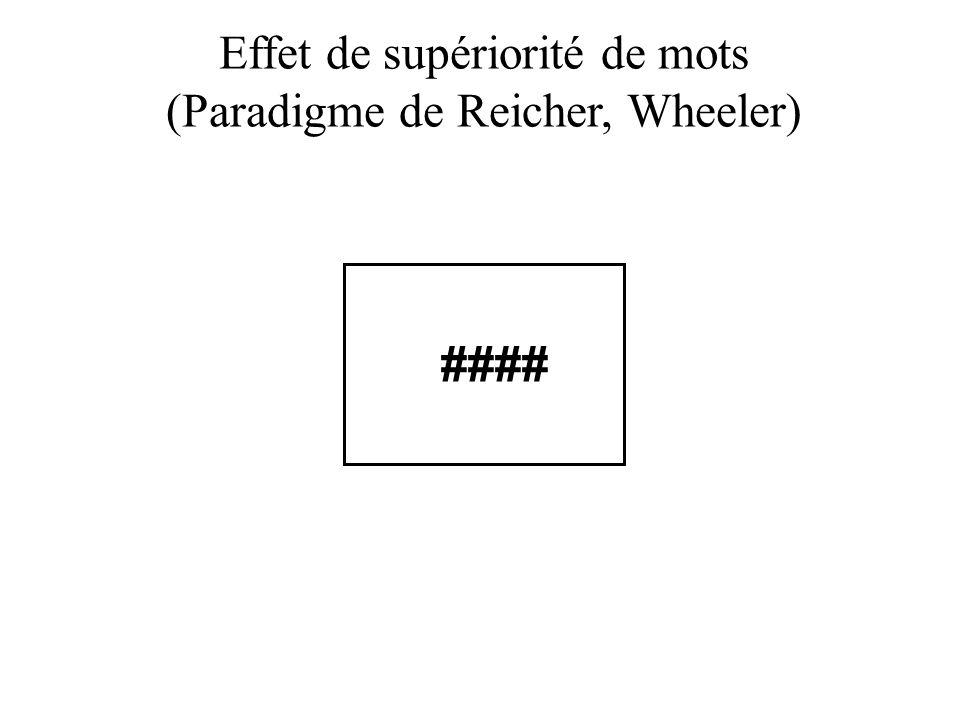 Effet de supériorité de mots (Paradigme de Reicher, Wheeler) ####
