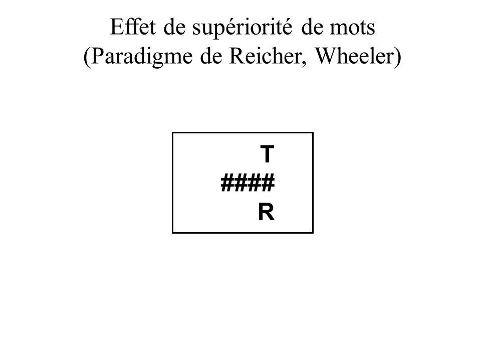 Effet de supériorité de mots (Paradigme de Reicher, Wheeler) T #### R