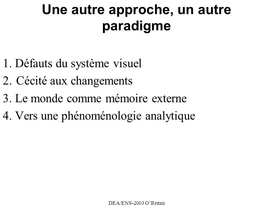 DEA/ENS-2003 ORegan Une autre approche, un autre paradigme 1.