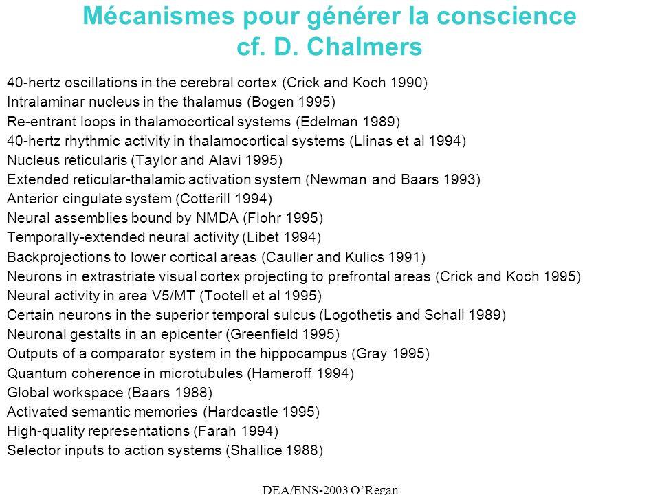 DEA/ENS-2003 ORegan Mécanismes pour générer la conscience cf.
