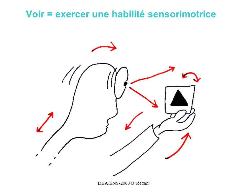 DEA/ENS-2003 ORegan Voir = exercer une habilité sensorimotrice