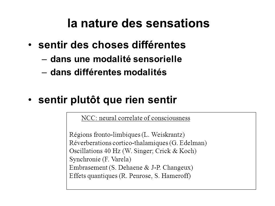 la nature des sensations sentir des choses différentes –dans une modalité sensorielle –dans différentes modalités sentir plutôt que rien sentir NCC: neural correlate of consciousness Régions fronto-limbiques (L.