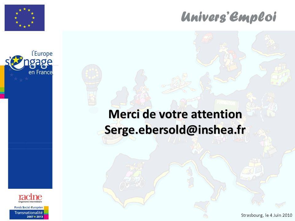 Strasbourg, le 4 Juin 2010 UniversEmploi Merci de votre attention Serge.ebersold@inshea.fr