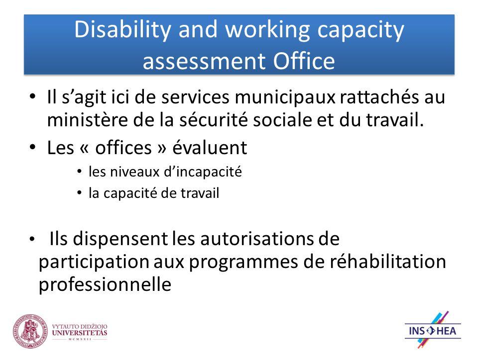 Disability and working capacity assessment Office Il sagit ici de services municipaux rattachés au ministère de la sécurité sociale et du travail.