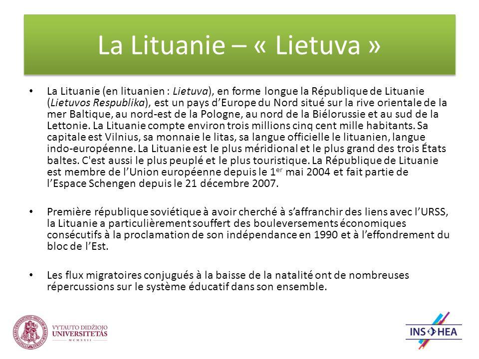 La Lituanie – « Lietuva » La Lituanie (en lituanien : Lietuva), en forme longue la République de Lituanie (Lietuvos Respublika), est un pays dEurope du Nord situé sur la rive orientale de la mer Baltique, au nord-est de la Pologne, au nord de la Biélorussie et au sud de la Lettonie.