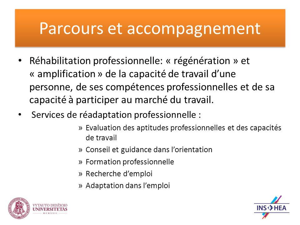 Parcours et accompagnement Réhabilitation professionnelle: « régénération » et « amplification » de la capacité de travail dune personne, de ses compétences professionnelles et de sa capacité à participer au marché du travail.