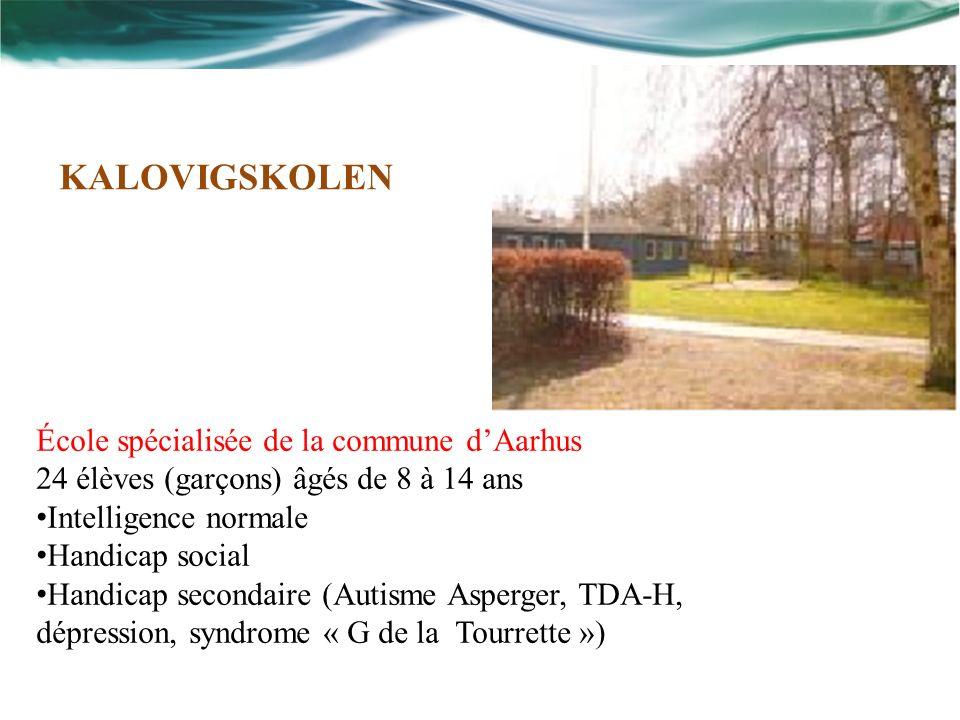 École spécialisée de la commune dAarhus 24 élèves (garçons) âgés de 8 à 14 ans Intelligence normale Handicap social Handicap secondaire (Autisme Asperger, TDA-H, dépression, syndrome « G de la Tourrette ») KALOVIGSKOLEN