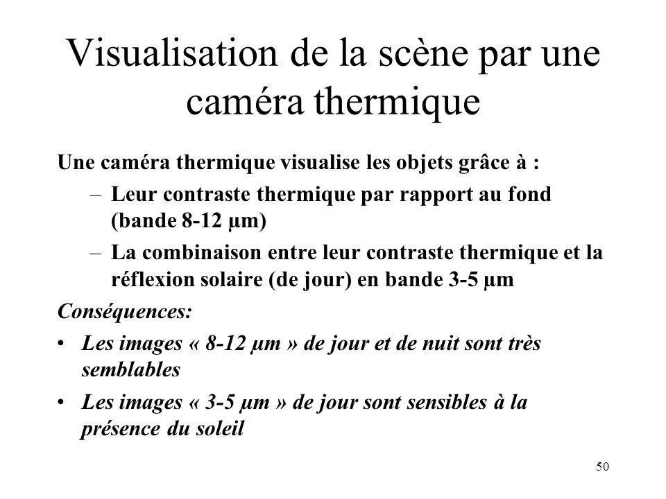 50 Visualisation de la scène par une caméra thermique Une caméra thermique visualise les objets grâce à : –Leur contraste thermique par rapport au fon