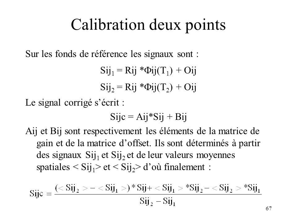 67 Calibration deux points Sur les fonds de référence les signaux sont : Sij 1 = Rij * ij(T 1 ) + Oij Sij 2 = Rij * ij(T 2 ) + Oij Le signal corrigé s