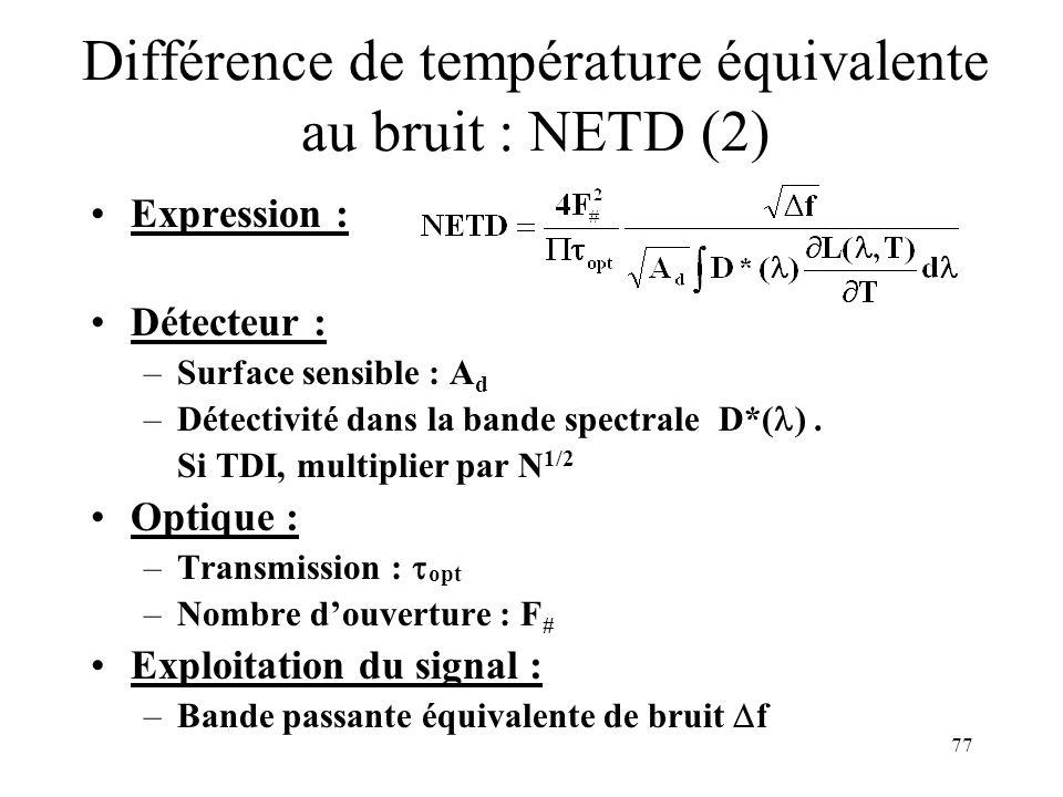 77 Différence de température équivalente au bruit : NETD (2) Expression : Détecteur : –Surface sensible : A d –Détectivité dans la bande spectrale D*(