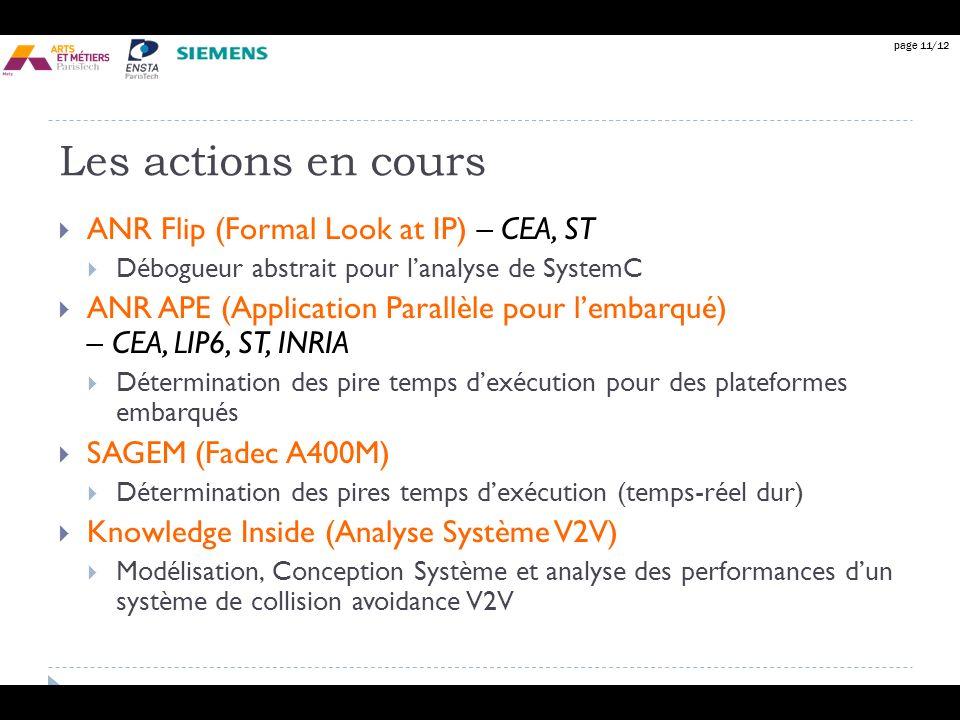 page 11/12 Les actions en cours ANR Flip (Formal Look at IP) – CEA, ST Débogueur abstrait pour lanalyse de SystemC ANR APE (Application Parallèle pour