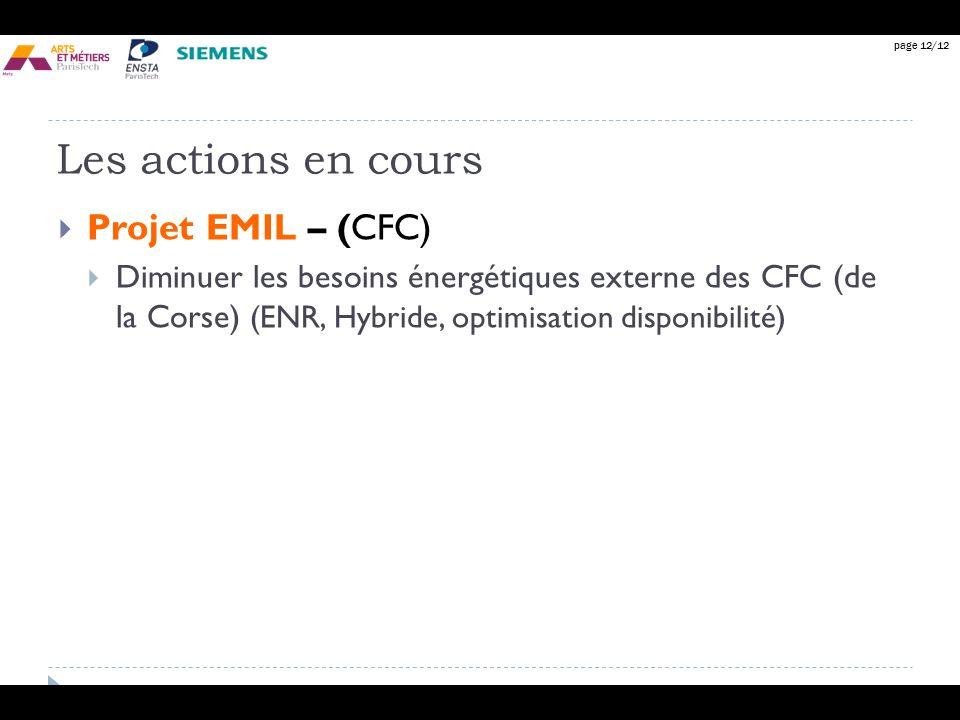 page 12/12 Les actions en cours Projet EMIL – (CFC) Diminuer les besoins énergétiques externe des CFC (de la Corse) (ENR, Hybride, optimisation dispon