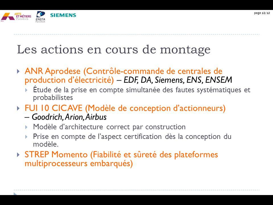 page 13/12 Les actions en cours de montage ANR Aprodese (Contrôle-commande de centrales de production délectricité) – EDF, DA, Siemens, ENS, ENSEM Étu
