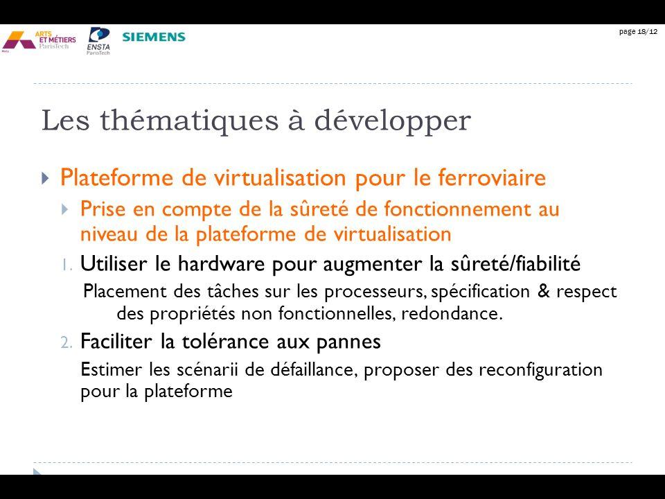 page 18/12 Les thématiques à développer Plateforme de virtualisation pour le ferroviaire Prise en compte de la sûreté de fonctionnement au niveau de l