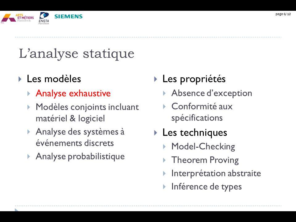 page 6/12 Lanalyse statique Les modèles Analyse exhaustive Modèles conjoints incluant matériel & logiciel Analyse des systèmes à événements discrets A