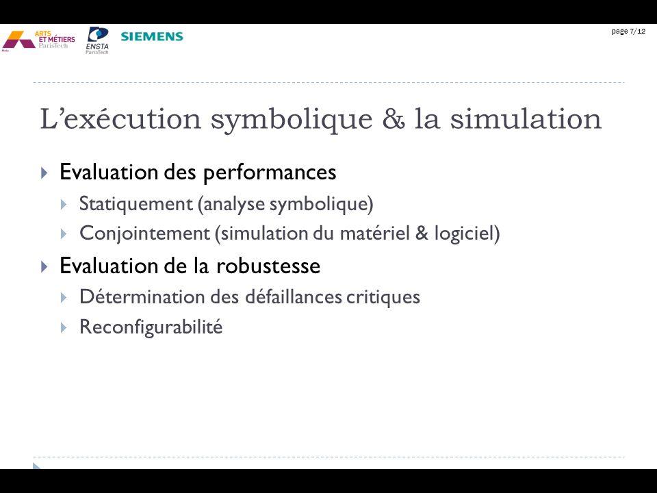 page 7/12 Lexécution symbolique & la simulation Evaluation des performances Statiquement (analyse symbolique) Conjointement (simulation du matériel &