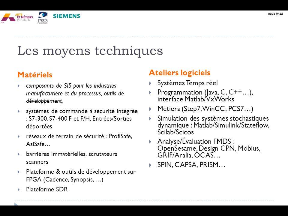 page 9/12 Les moyens techniques Matériels composants de SIS pour les industries manufacturière et du processus, outils de développement, systèmes de c