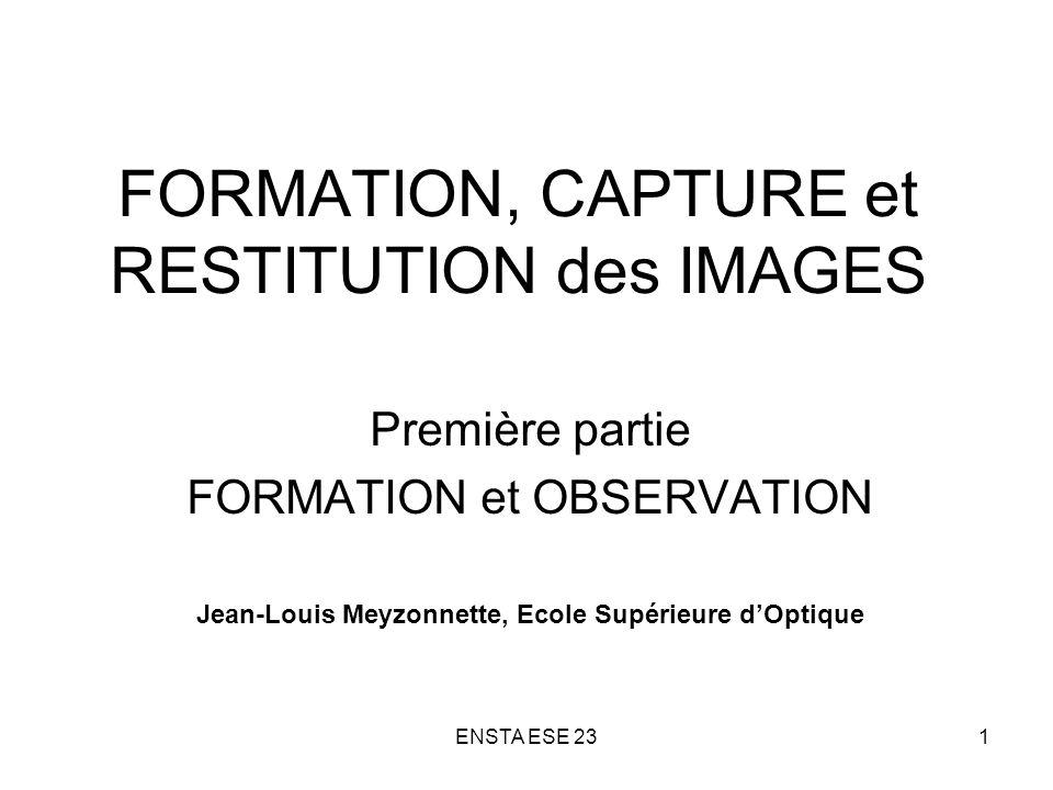 ENSTA ESE 2362 FLUX INCIDENT SUR LE DETECTEUR D UN CAPTEUR D IMAGE Objet étendu (luminance L, distance d >> f) F reçu = E S d = T op L S d / 4 N 2 Avec T op = transmission optique, S d = aire du détecteur Objet quasi ponctuel (intensité I) F reçu = I T op S op / d 2 Avec S op = aire de la pupille dentrée
