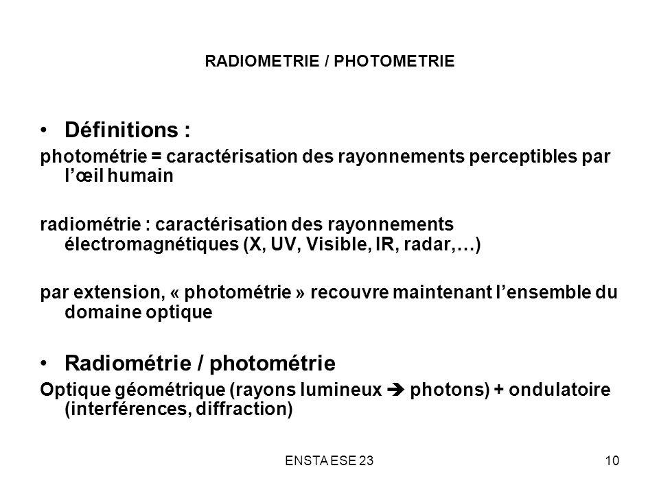 ENSTA ESE 2310 RADIOMETRIE / PHOTOMETRIE Définitions : photométrie = caractérisation des rayonnements perceptibles par lœil humain radiométrie : carac