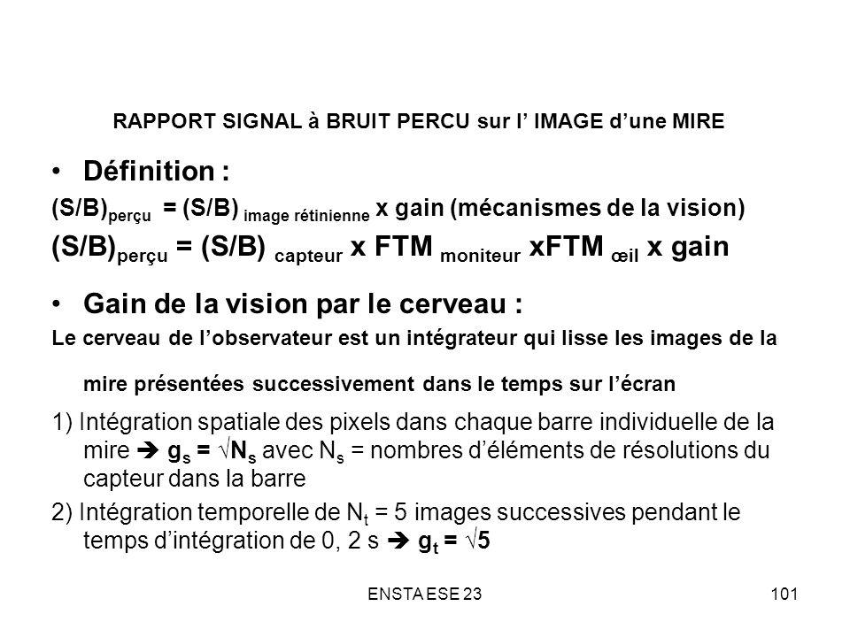 ENSTA ESE 23101 RAPPORT SIGNAL à BRUIT PERCU sur l IMAGE dune MIRE Définition : (S/B) perçu = (S/B) image rétinienne х gain (mécanismes de la vision)