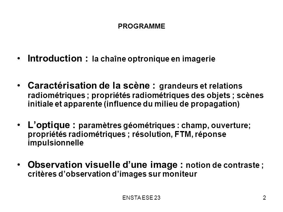 ENSTA ESE 23103 CRITERE DE DETECTION DE MIRE SUR MONITEUR Gain total de la vision sur imagerie de moniteur g = 5 N s (S/B) perçu sur limage dune mire de fréquence spatiale (F s /FEB) = 0 ( objet étendu) Х FTM opt ( ) х FTM dét ( ) х [facteur de bruit de lélectronique ( )] -1 Х FTM moniteur ( ) х FTM oeil ( ) Х 5 N s Détection visuelle de la mire sur moniteur (S/B) perçu > 5 facteur de bruit de lélectronique ( ) (Fs/FEB) = 0 = FTM i ( ) Ns