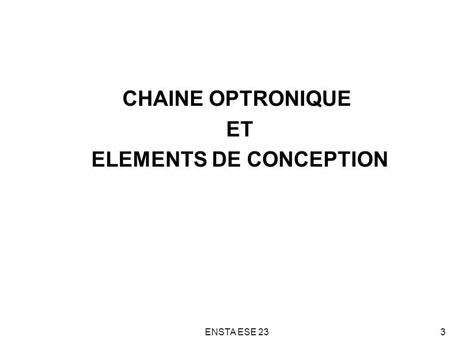 ENSTA ESE 2374 FONCTION de TRANSFERT de MODULATION Définitions : Contraste ( taux de modulation) de lobjet = (L max – L min ) / (L max + L min ) Contraste de limage = (E max – E min ) / (E max + E min ) fonction de transfert de modulation de loptique FTM ( ) = contraste de limage / contraste de lobjet FTM ( ) = (E max – E min ) / (E max + E min ) pour un objet sinusoïdal de fréquence spatiale, et de modulation 100%