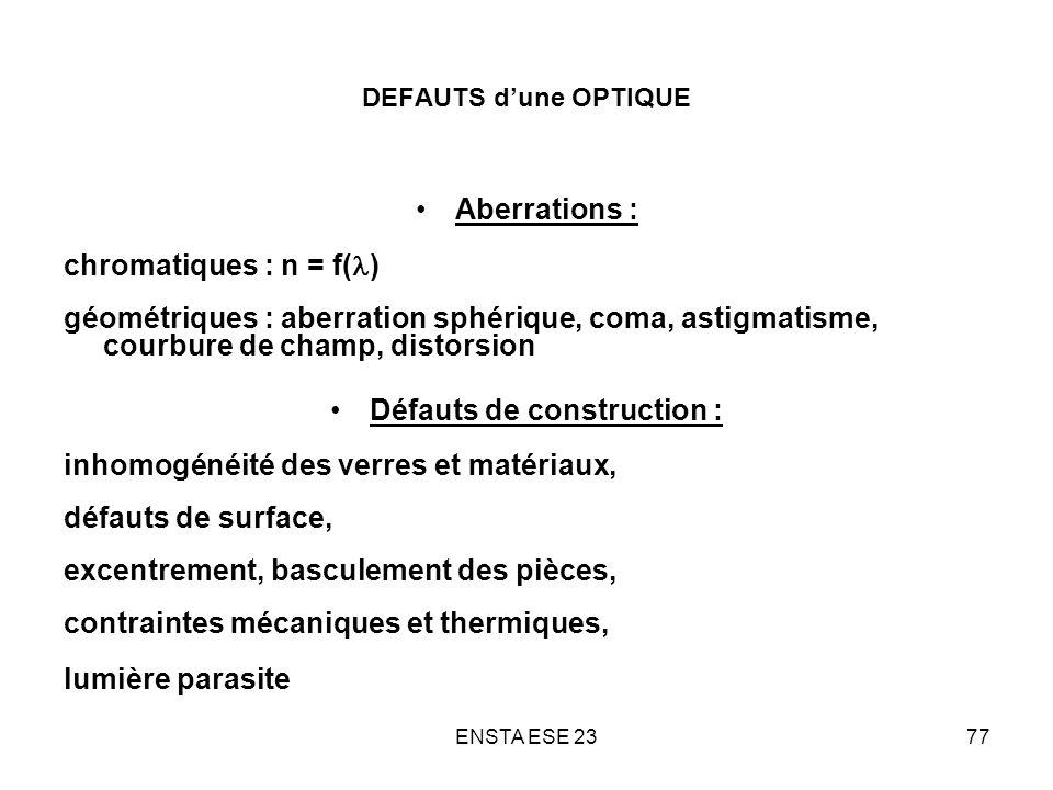 ENSTA ESE 2377 DEFAUTS dune OPTIQUE Aberrations : chromatiques : n = f( ) géométriques : aberration sphérique, coma, astigmatisme, courbure de champ,