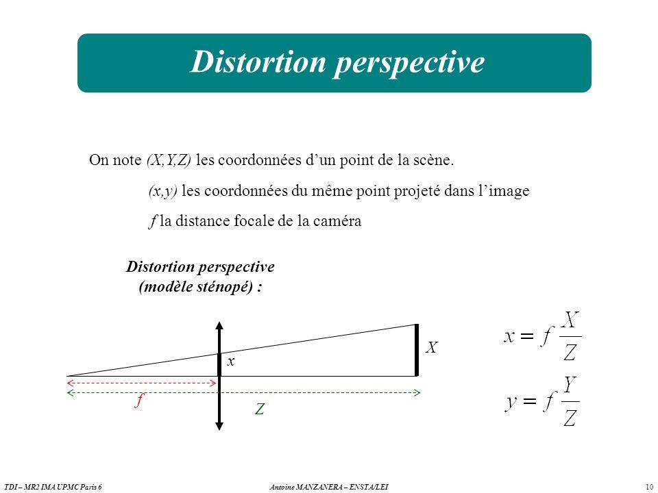10 Antoine MANZANERA – ENSTA/LEITDI – MR2 IMA UPMC Paris 6 Distortion perspective On note (X,Y,Z) les coordonnées dun point de la scène.