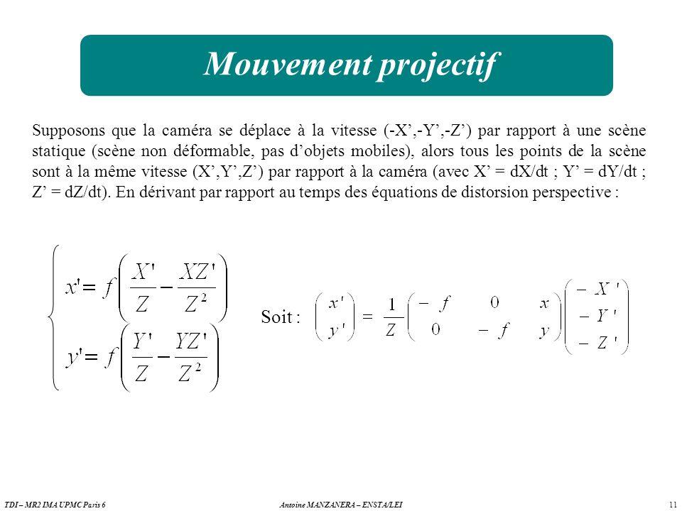 11 Antoine MANZANERA – ENSTA/LEITDI – MR2 IMA UPMC Paris 6 Mouvement projectif Supposons que la caméra se déplace à la vitesse (-X,-Y,-Z) par rapport à une scène statique (scène non déformable, pas dobjets mobiles), alors tous les points de la scène sont à la même vitesse (X,Y,Z) par rapport à la caméra (avec X = dX/dt ; Y = dY/dt ; Z = dZ/dt).