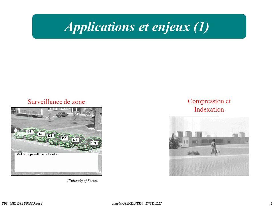 2 Antoine MANZANERA – ENSTA/LEITDI – MR2 IMA UPMC Paris 6 Applications et enjeux (1) Surveillance de zone Compression et Indexation (University of Surrey)