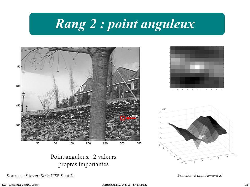 26 Antoine MANZANERA – ENSTA/LEITDI – MR2 IMA UPMC Paris 6 Rang 2 : point anguleux Point anguleux : 2 valeurs propres importantes Fonction dappariement A Sources : Steven Seitz UW-Seattle