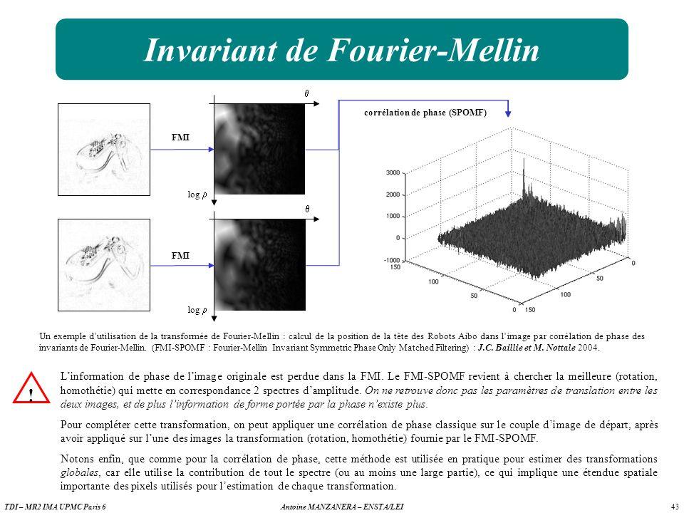 43 Antoine MANZANERA – ENSTA/LEITDI – MR2 IMA UPMC Paris 6 Invariant de Fourier-Mellin Un exemple dutilisation de la transformée de Fourier-Mellin : calcul de la position de la tête des Robots Aibo dans limage par corrélation de phase des invariants de Fourier-Mellin.