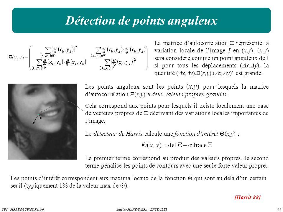 45 Antoine MANZANERA – ENSTA/LEITDI – MR2 IMA UPMC Paris 6 Détection de points anguleux La matrice dautocorrélation représente la variation locale de limage I en (x,y).