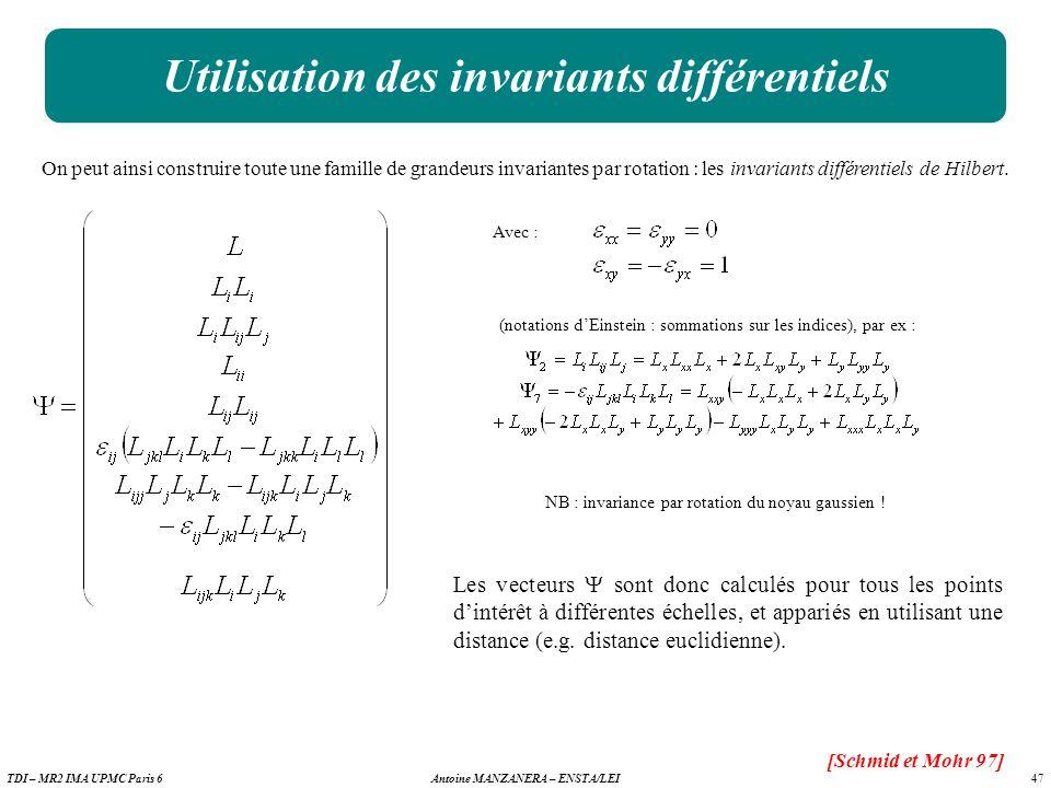 47 Antoine MANZANERA – ENSTA/LEITDI – MR2 IMA UPMC Paris 6 Utilisation des invariants différentiels [Schmid et Mohr 97] On peut ainsi construire toute une famille de grandeurs invariantes par rotation : les invariants différentiels de Hilbert.