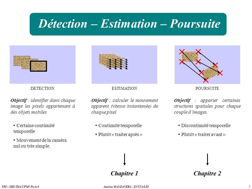 5 Antoine MANZANERA – ENSTA/LEITDI – MR2 IMA UPMC Paris 6 Détection – Estimation – Poursuite DETECTION Certaine continuité temporelle Mouvement de la caméra nul ou très simple.