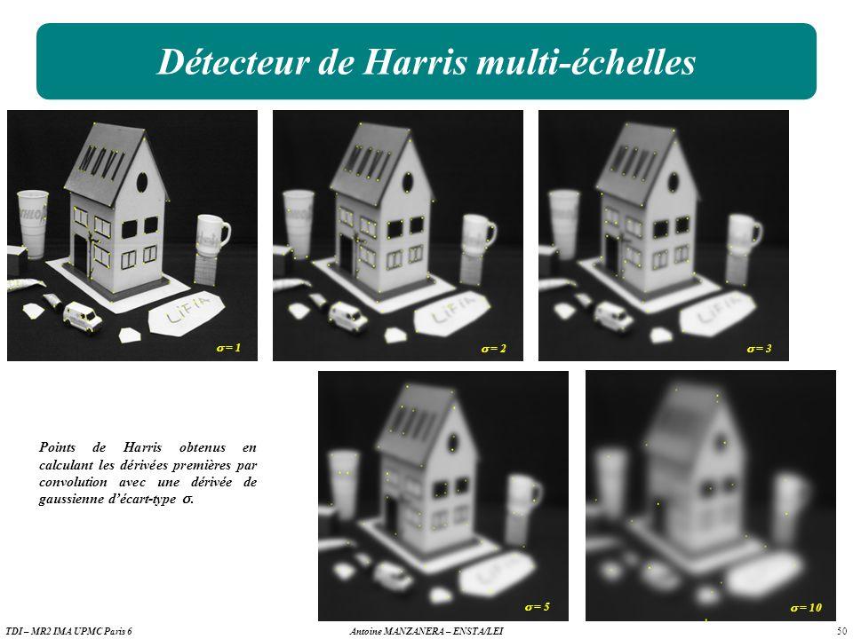 50 Antoine MANZANERA – ENSTA/LEITDI – MR2 IMA UPMC Paris 6 Détecteur de Harris multi-échelles Points de Harris obtenus en calculant les dérivées premières par convolution avec une dérivée de gaussienne décart-type.
