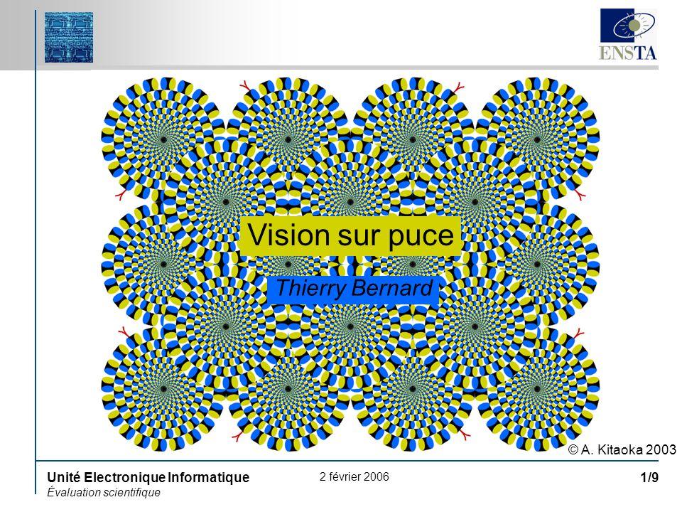 2 février 2006 Unité Electronique Informatique Évaluation scientifique 1/9 Vision sur puce © A. Kitaoka 2003 Thierry Bernard