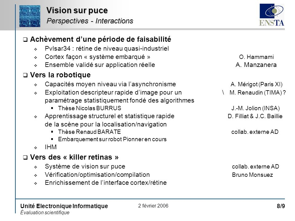 2 février 2006 Unité Electronique Informatique Évaluation scientifique 8/9 Vision sur puce Perspectives - Interactions Achèvement dune période de fais