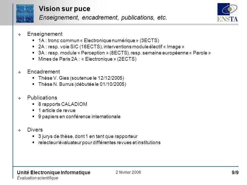 2 février 2006 Unité Electronique Informatique Évaluation scientifique 9/9 Vision sur puce Enseignement, encadrement, publications, etc. Enseignement