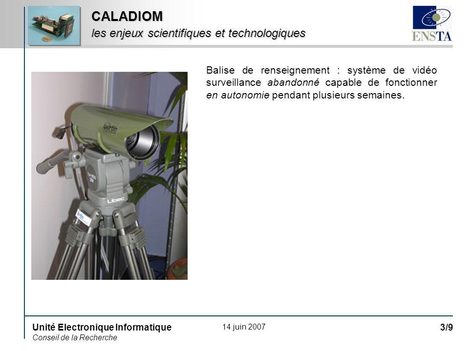 14 juin 2007 Unité Electronique Informatique Conseil de la Recherche 4/9 CALADIOM pourquoi des rétines dans CALADIOM ?