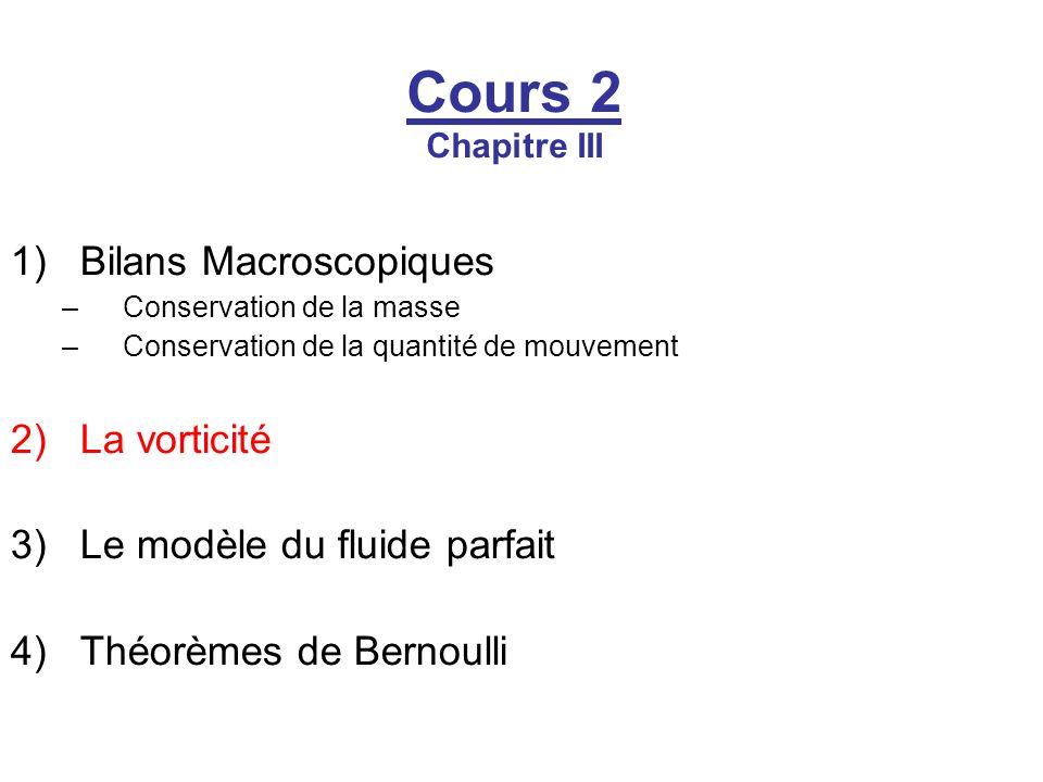 Cours 2 Chapitre III 1)Bilans Macroscopiques –Conservation de la masse –Conservation de la quantité de mouvement 2)La vorticité 3)Le modèle du fluide