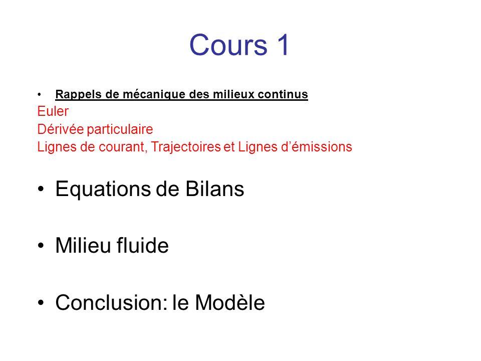 Cours 1 Rappels de mécanique des milieux continus Euler Dérivée particulaire Lignes de courant, Trajectoires et Lignes démissions Equations de Bilans