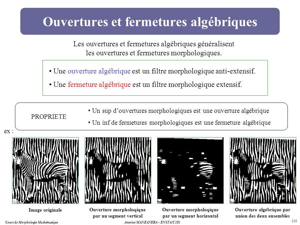 Cours de Morphologie MathématiqueAntoine MANZANERA – ENSTA/U2IS 100 Ouvertures et fermetures algébriques Les ouvertures et fermetures algébriques géné