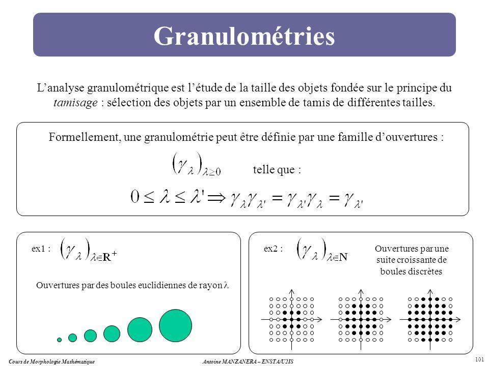 Cours de Morphologie MathématiqueAntoine MANZANERA – ENSTA/U2IS 101 Granulométries Lanalyse granulométrique est létude de la taille des objets fondée