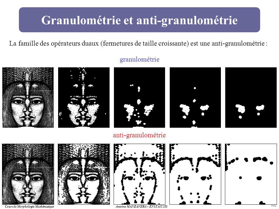 Cours de Morphologie MathématiqueAntoine MANZANERA – ENSTA/U2IS 102 Granulométrie et anti-granulométrie granulométrie anti-granulométrie La famille de